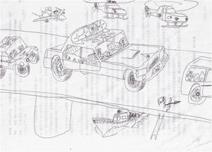 U太の絵20120223パトカーたち