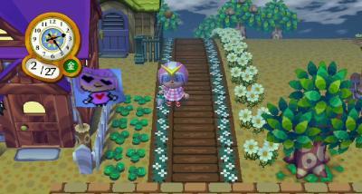 木の花壇の道