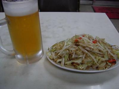 ビール&野菜炒め