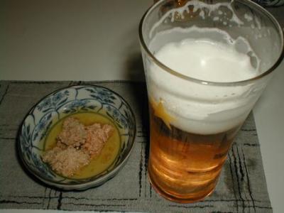 付き出し&ビール