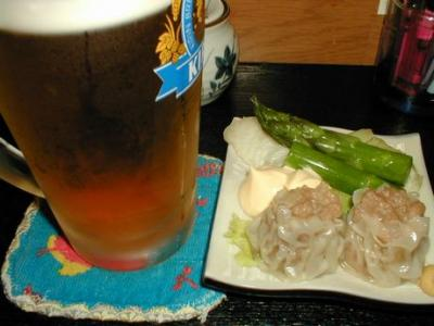 つきだし&ビール