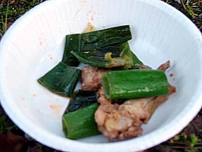 雉と葱の炒め物