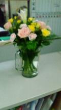 ジョッキにお花