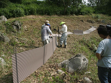 ドリーネの猪防護トタン設置-05