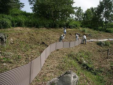 ドリーネの猪防護トタン設置-06