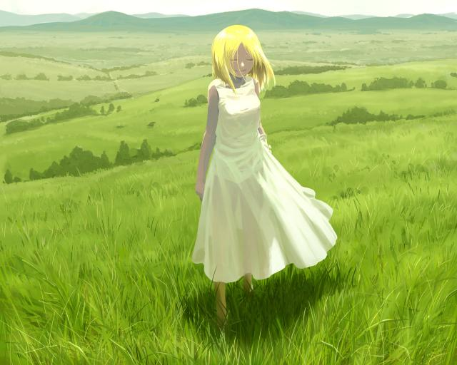 草原に立つ
