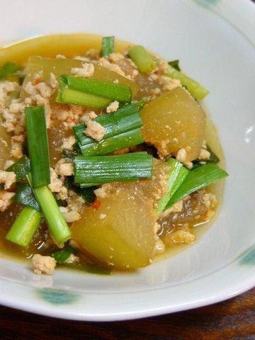冬瓜と鶏ひき肉のピリ辛煮