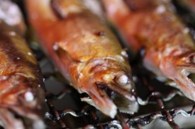 荒川鮎釣り 鮎塩焼き