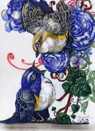 青薔薇とルリビタキWEB