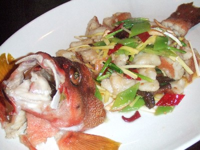 赤ハタと季節野菜ボルチーニ茸の塩炒め