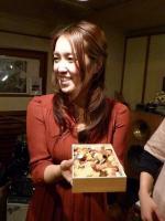 お客様の手作りチラシ寿司を頂くvo田中千賀さん