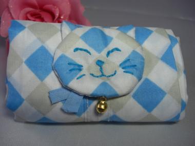 猫顔つきエコバッグ(折りたたみ式)