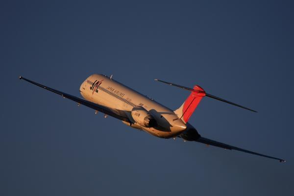 JAL MD-81 Super80 JL2379@子供文化科学館裏付近(by 40D with EF100-400)