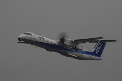 ANA DHC8-Q400 NH1621@RWY14Rエンド(by EF100-400)