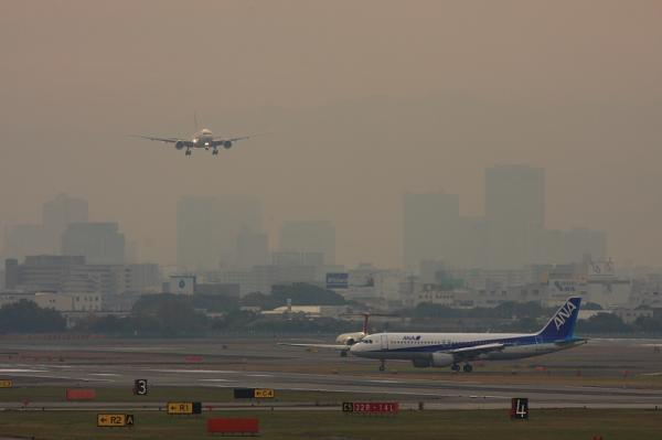 JAL B777-246 JL103&ANA A320 NH556@エアフロントオアシス(by 40D with EF100-400)