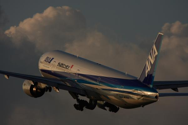 ANA B777-381 NH34@こども文化科学館裏付近(by 40D with EF100-400)