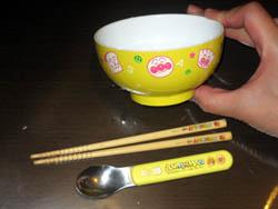 アンパンマンのお椀、箸、スプーン