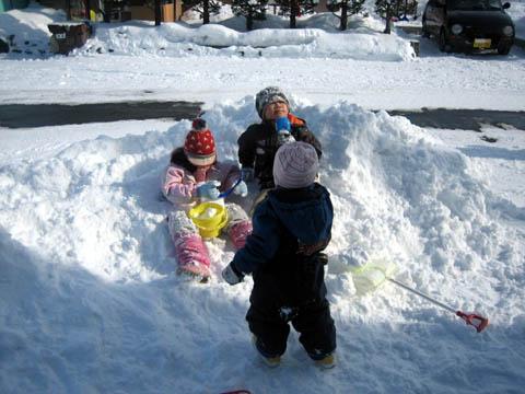 3人仲良く雪まみれ