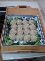 四角いお皿のもち米シュウマイ