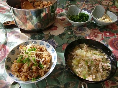 ランチ:鳥挽き肉の中華風炊き込みご飯1