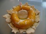 お誕生日ケーキ―オレンジのババロアと手作りクッキー