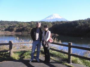 富士山と2人