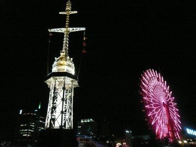神戸港大灯台と、大観覧車