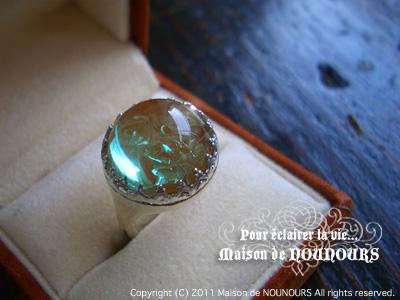 純銀とサフィレットのリング ロザリウム