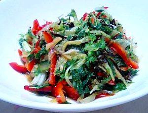 京菜とパプリカの塩コンブ和え
