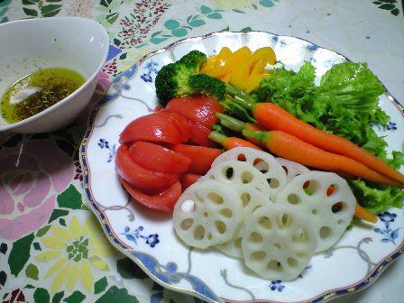 茹で野菜をオリーブオイルで