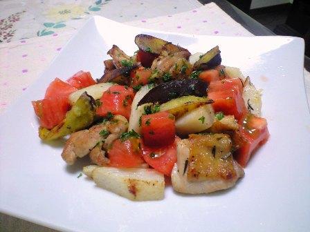 お野菜参加型ローズマリーチキン