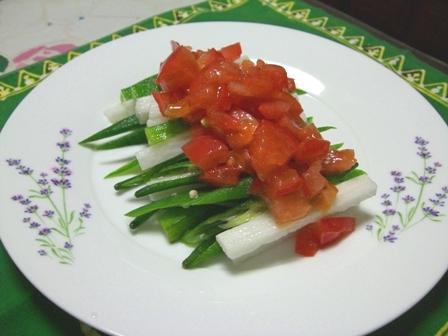 オクラ長芋withトマトソース