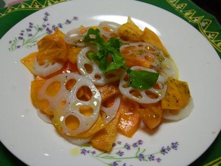 柿とレンコンのサラダ