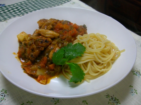 セロリとチキンのトマト煮