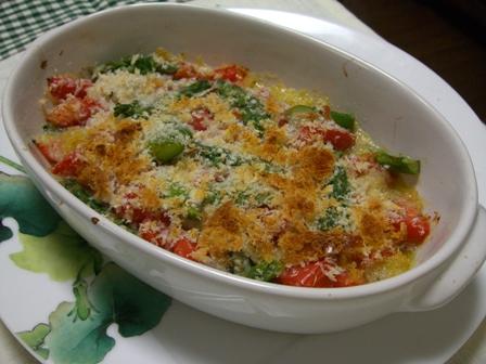 アスパラトマトin牡蠣のオリーブオイル焼き