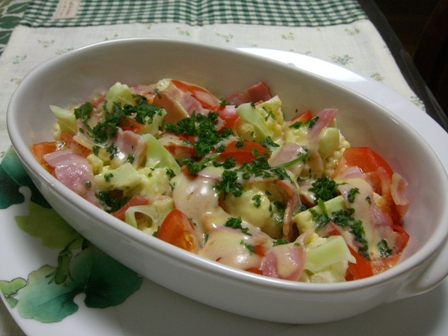 カリフラワー・トマトのチーズ焼き