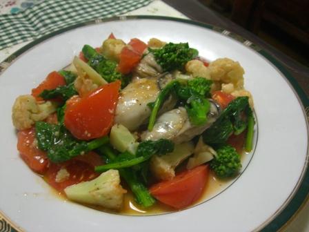 牡蠣とお野菜のオリーブオイル炒め