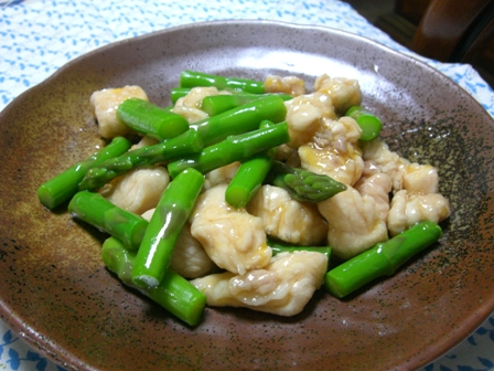 アスパラ鶏のマーマレードソース