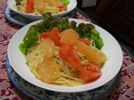グレフルとトマトのパスタ