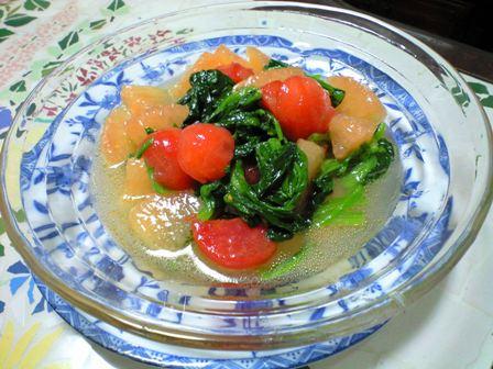 グレフル+トマト+ほうれん草のサラダ