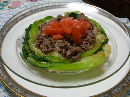 牛シャブとチンゲン菜の冷やし中華