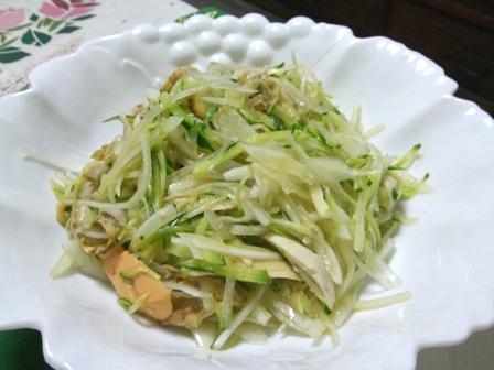 新玉葱とホタテのひものサラダ
