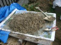 稲ワラが混ぜ込まれた粘土