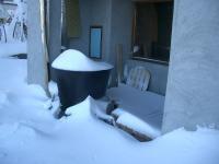 露天風呂にも雪