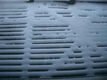 ベランダの雪模様