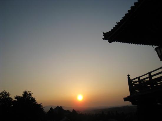 二月堂から望む夕日:夕景の写真