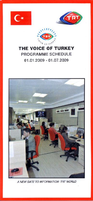 TRT VOICE OF TURKEY 2009年1月1日~2009年7月1日のスケジュール表の表紙
