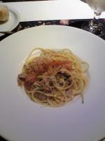 もち豚とみょうがのスパゲッティーニ