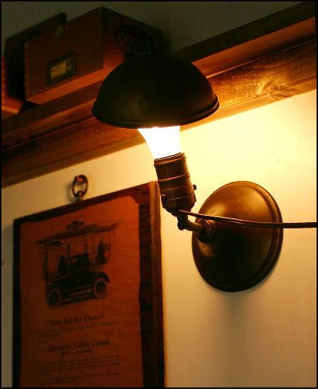 アンティークの真鍮ライト