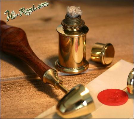 真鍮製&木製のシーリングワックスとバーナーセット 2